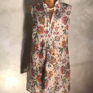 Cabi Floral Silk & Cotton Blend Tunic X18